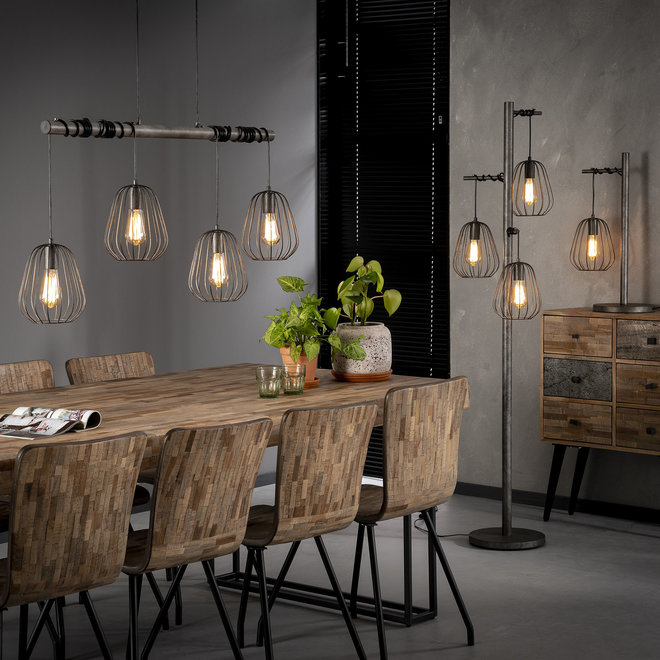Hanglamp 4xØ18 lampoon / Oud zilver
