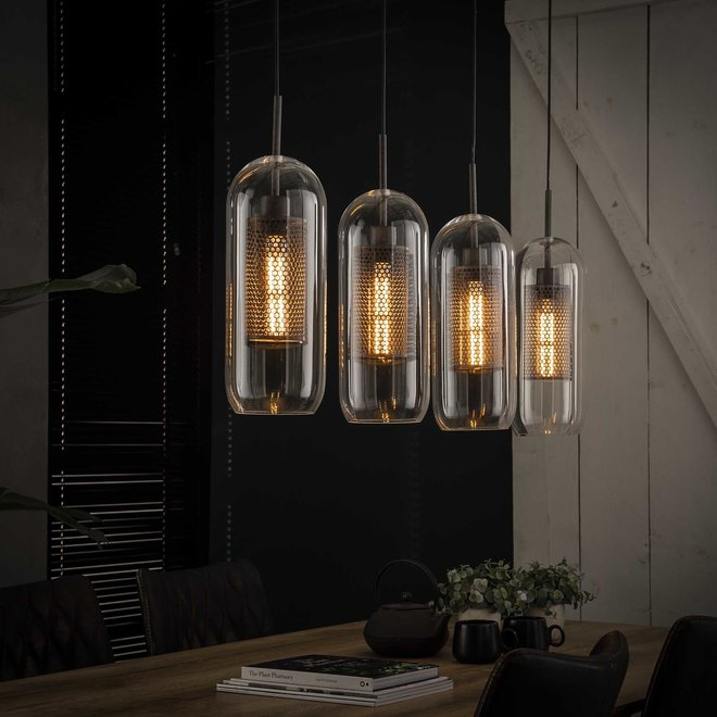 Hanglamp 4x Ø15 glas/ geperforeerd staal / Oud zilver