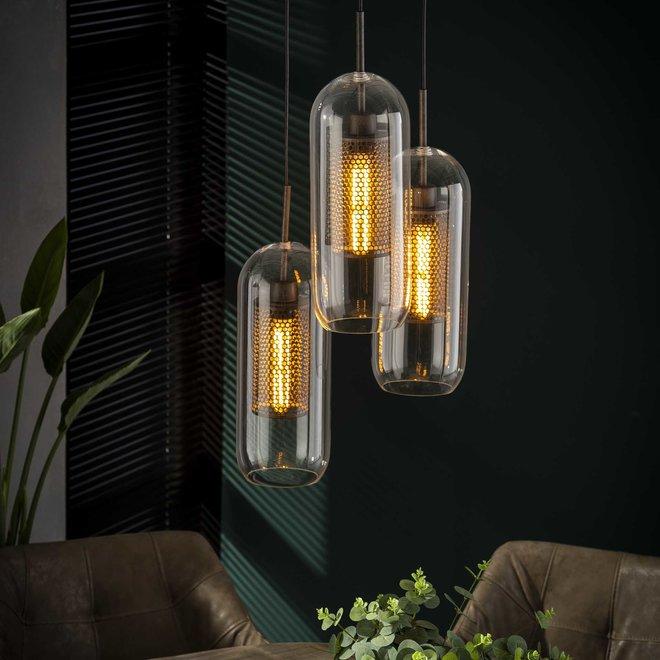 Hanglamp Getrapt Cilinder Glas - 3 Lampen Ø15