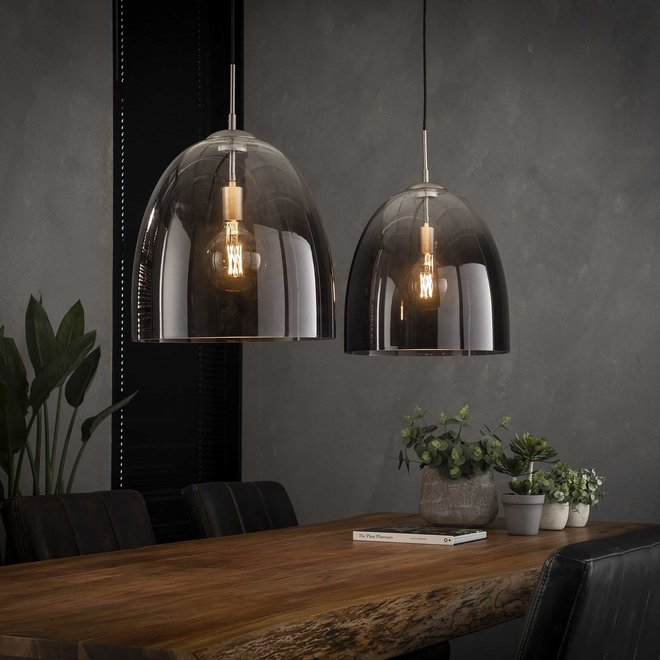 Hanglamp 2x Ø40 shaded ovaal glas / Mat nikkel