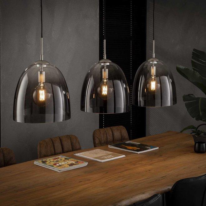 Hanglamp 3x Ø33 shaded ovaal glas / Mat nikkel