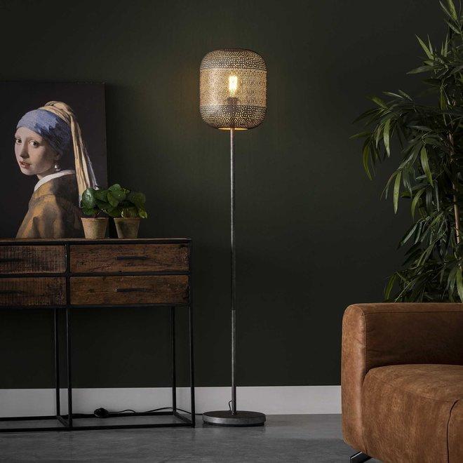 Vloerlamp 1L etch / Oud zilver