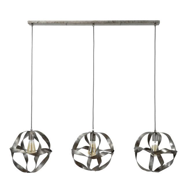 Hanglamp 3xØ30 twist / Oud zilver