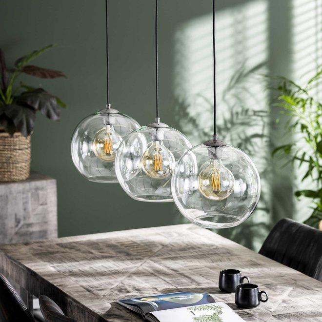 Hanglamp 3L Ø30 sphere helder glas / Oud zilver