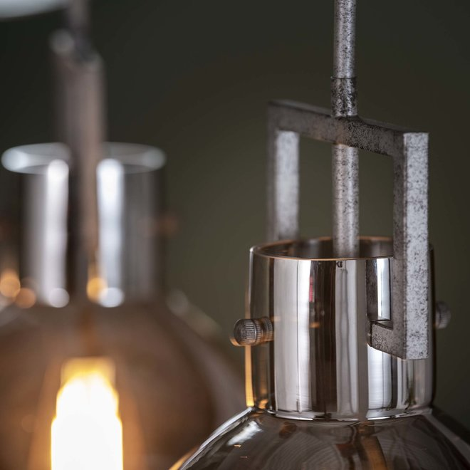 Hanglamp 3L industry chromed glass / Oud zilver