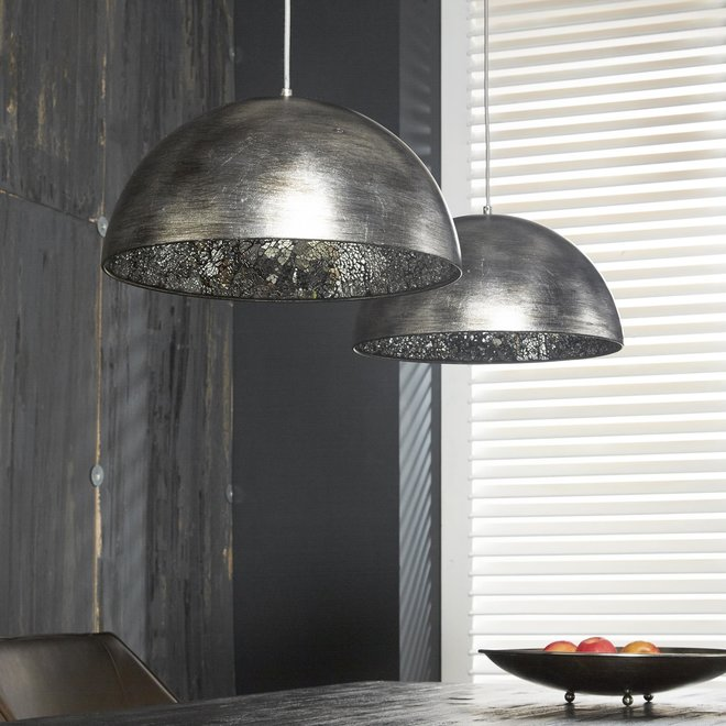 Hanglamp 2L old silvery-mirror inside / Old silvery finish