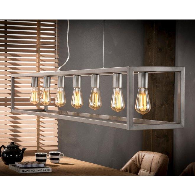 Hanglamp 7L rechthoek 4-kante buis/Zilver