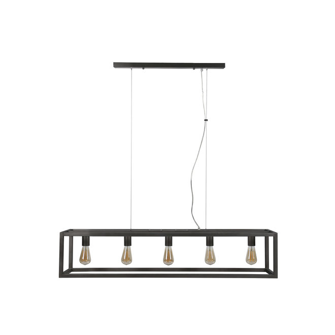 Hanglamp 5L rechthoek met vierkante buis. / Silvery finish