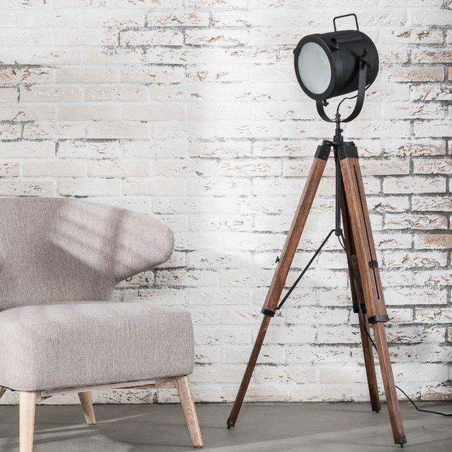 Vloerlamp Tripod vintage hout / Zwart