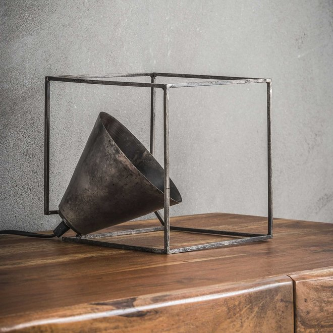 Tafellamp industry kubus / Oud zilver