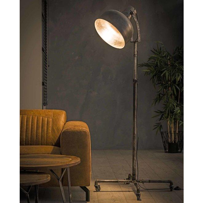 Vloerlamp industry op wieltjes / Oud zilver