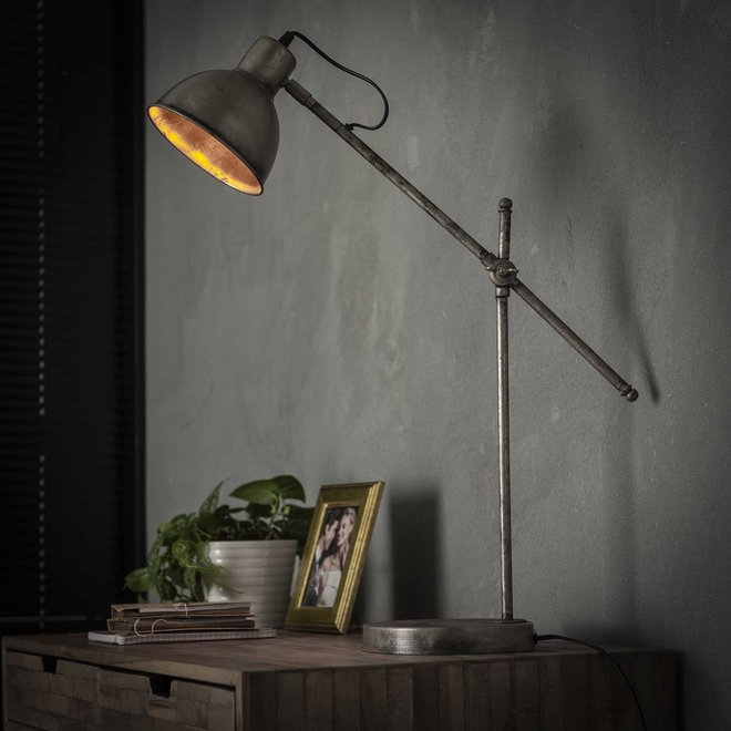 Tafellamp loft hinged / Oud zilver