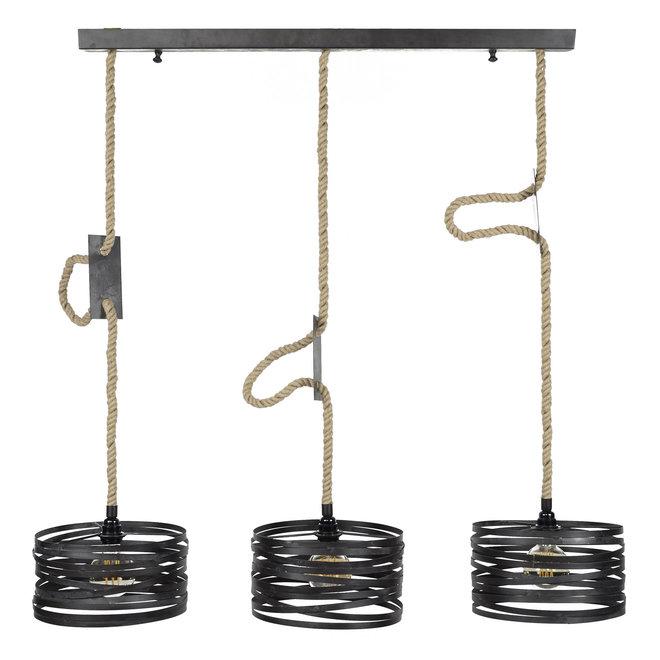 Hanglamp 3xØ30 twist verstelbaar touw / Slate grey