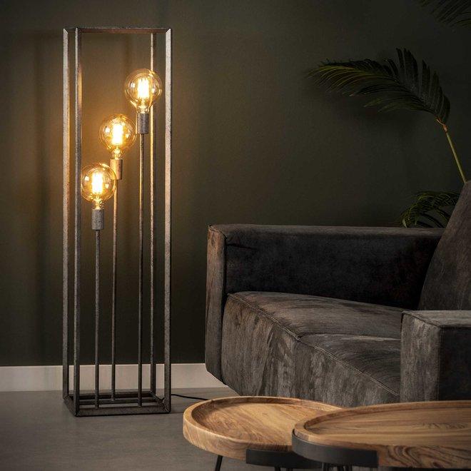 Vloerlamp 3L 45 graden buis / Oud zilver