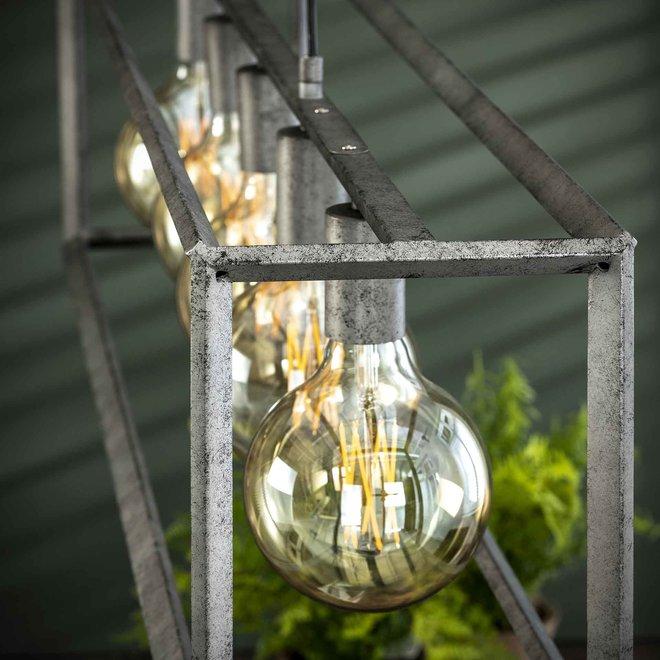 Hanglamp 5L 45 graden buis / Oud zilver