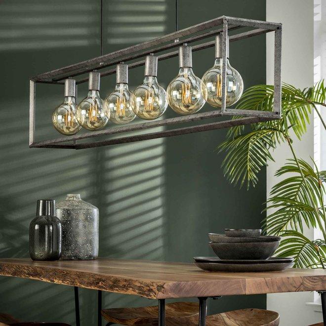 Hanglamp 6L 45 graden buis / Oud zilver