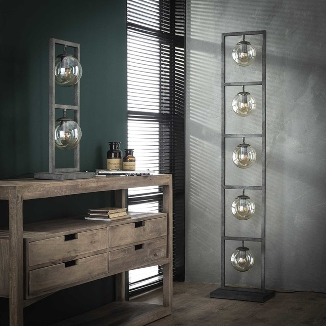 Tafellamp tower 2x Ø15 glas / Oud zilver