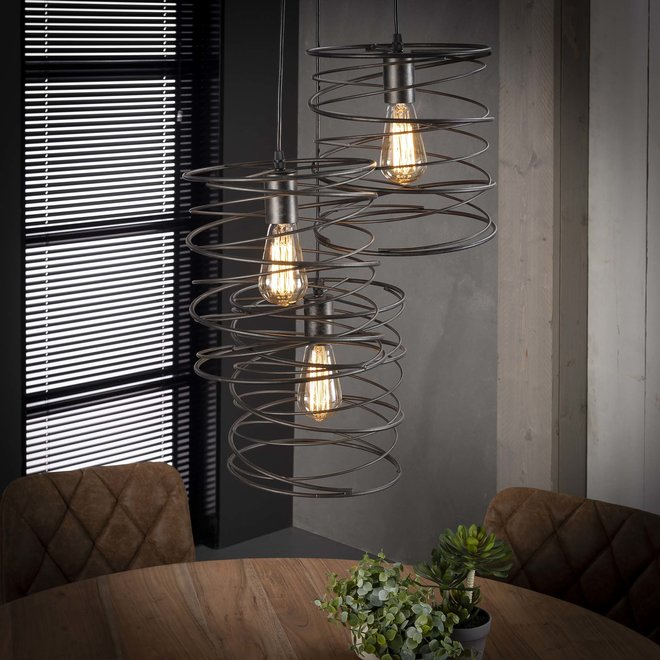 Hanglamp 3x curl getrapt / Charcoal