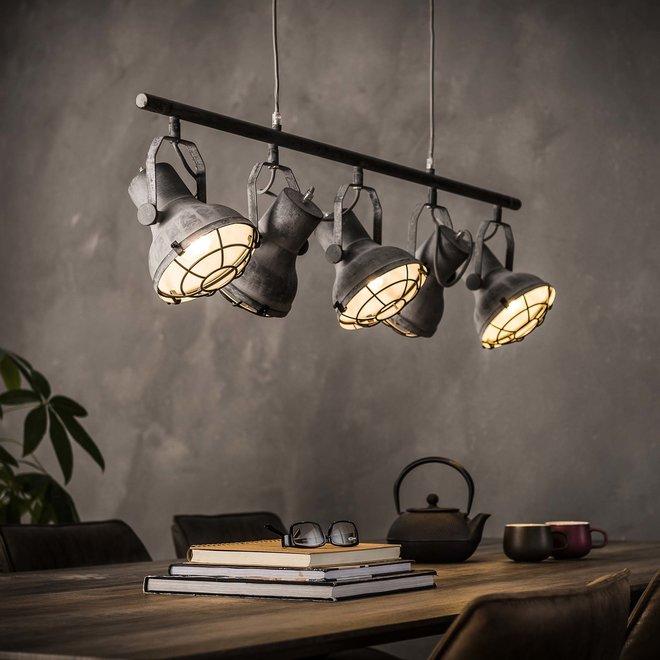 Hanglamp 5xØ16 industrieel betonlook / Grijs