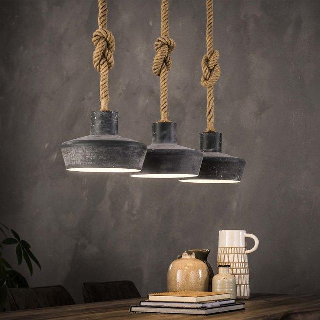 Hanglamp Betonlook Verstelbaar Touw - 3 Lampen Ø28