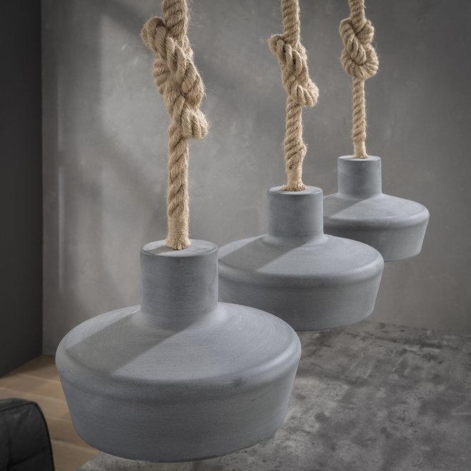Hanglamp 3xØ28 betonlook verstelbaar touw / Grijs