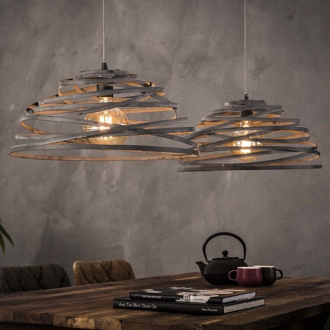 Hanglamp 2xØ50 halfrond staaldraad gedraaid / Grijs