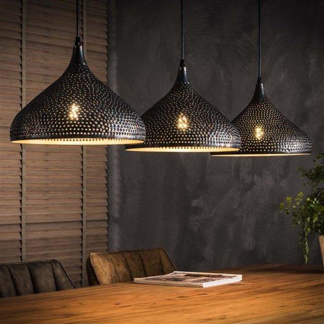 Hanglamp 3xØ32 punch trechter / Zwart bruin