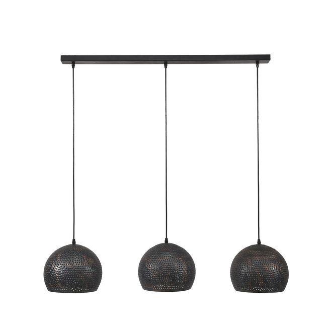Hanglamp 3xØ25 punch bol / Zwart bruin