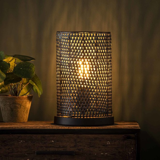 Tafellamp armor tube / Zwart bruin