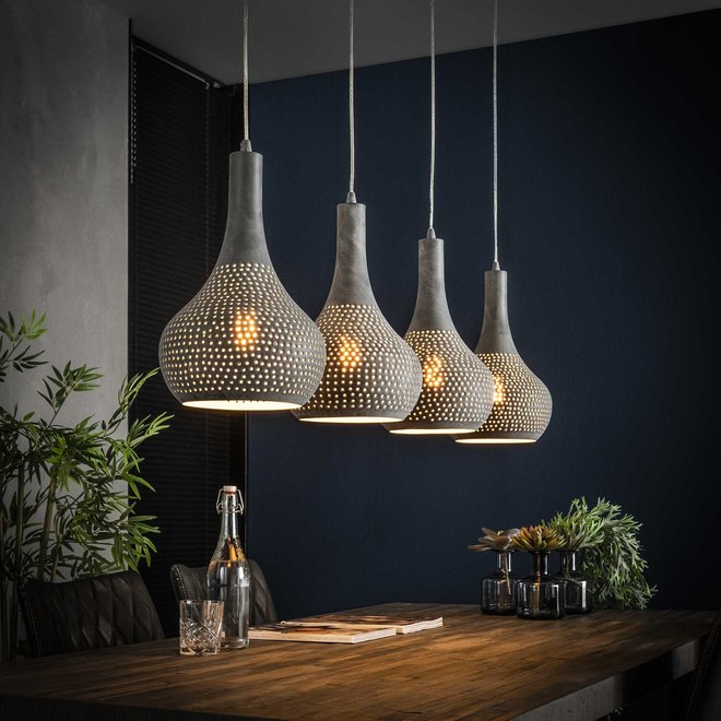 Hanglamp 4L punch kegel / Grijs