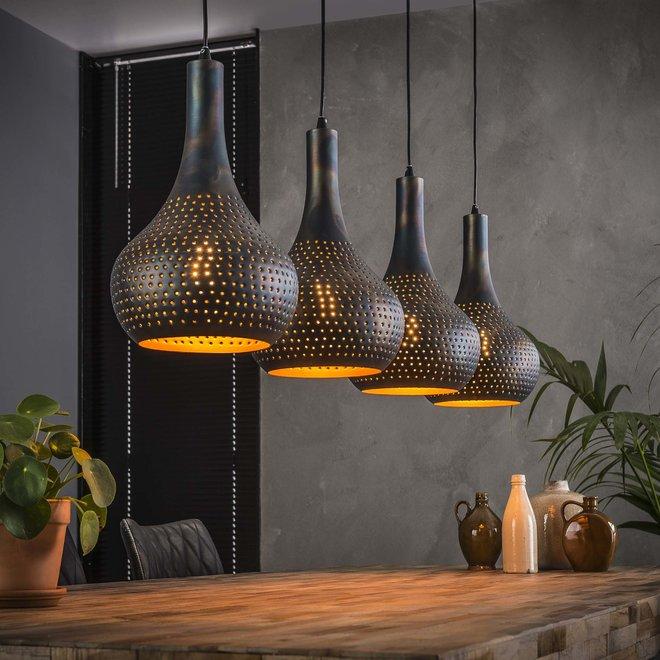 Hanglamp 4L punch kegel / Zwart bruin