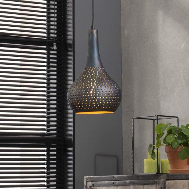 Hanglamp 1x industry concrete kegel/Zwart bruin