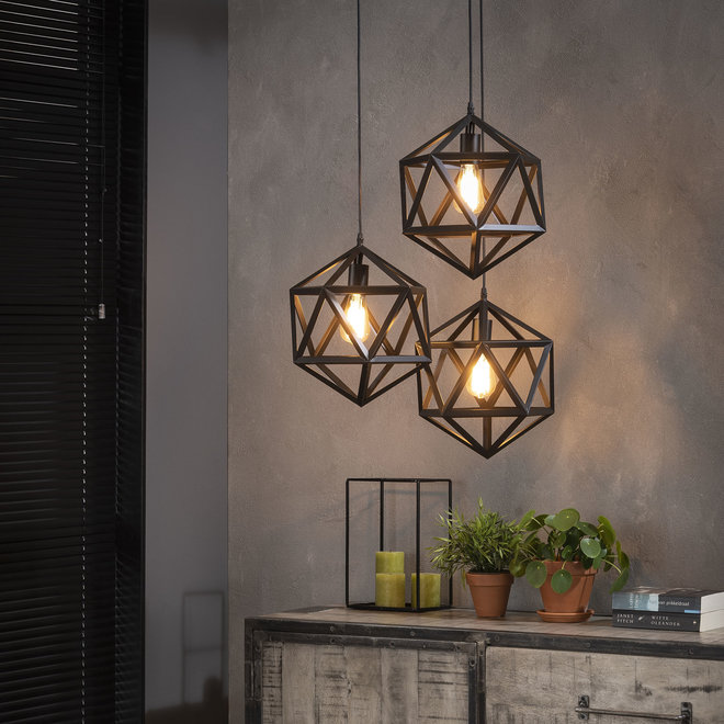 Hanglamp 3L triangle / Zwart