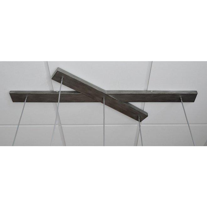 Hanglamp 5L met crossbar en old silvery mirror inside. / Old silvery finish
