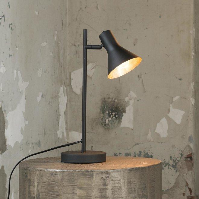 Tafellamp cup in matt black met gold inside. / Zwart