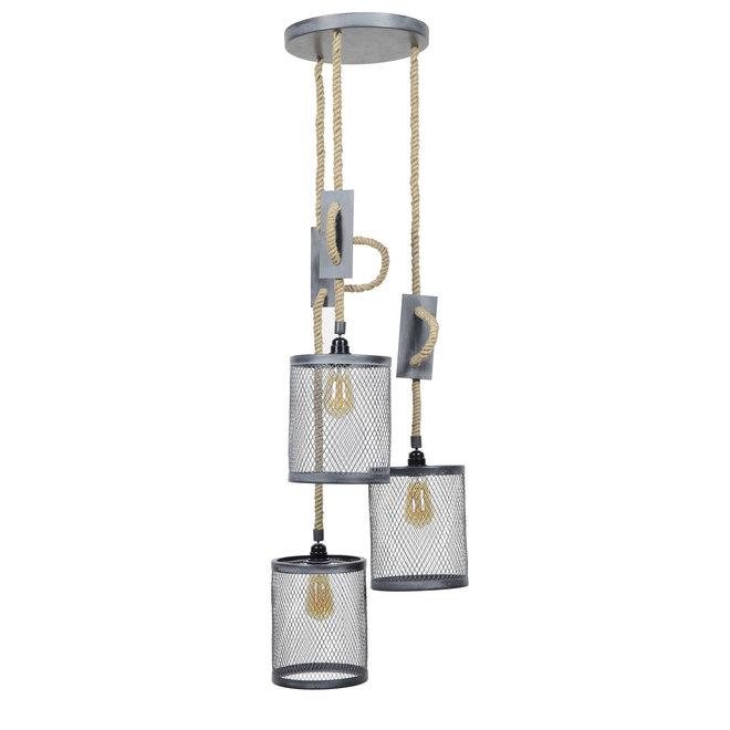 Hanglamp 3xØ20 mesh verstelbaar touw getrapt / Grijs