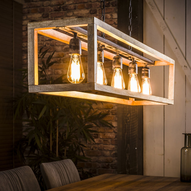 Hanglamp Rechthoek Houten Frame - 5 Lampen