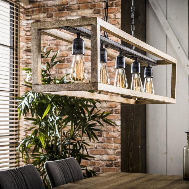 Hanglamp 5L rechthoek houten frame / Massief mango naturel