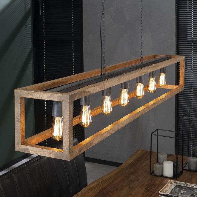 Hanglamp 7L rechthoek houten frame / Massief mango naturel
