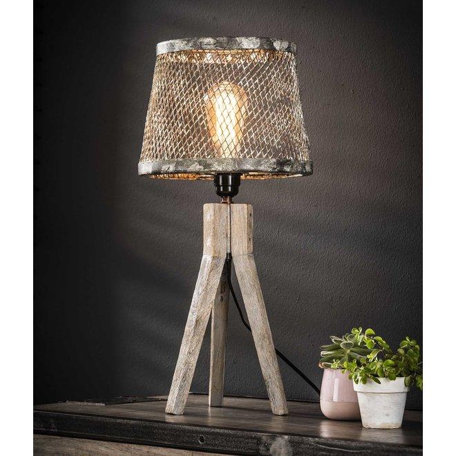 Tafellamp massief houten driepoot / Verweerd koper