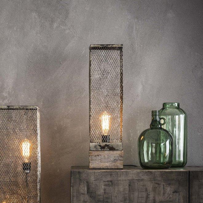 Tafellamp rechthoek mesh houten voetje / Verweerd koper