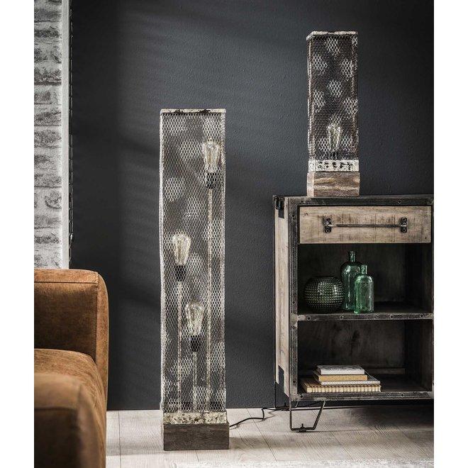 Vloerlamp rechthoek mesh houten voetje / Verweerd koper