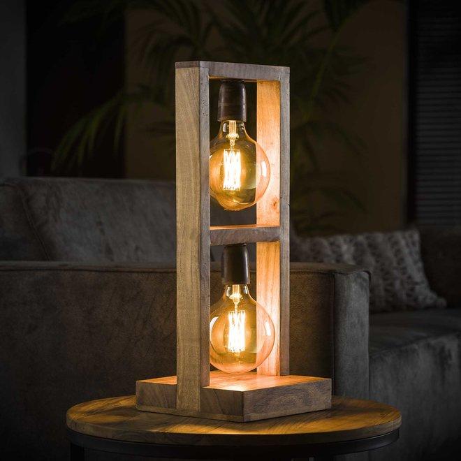 Tafellamp 2L modulo houten frame / Massief acacia naturel