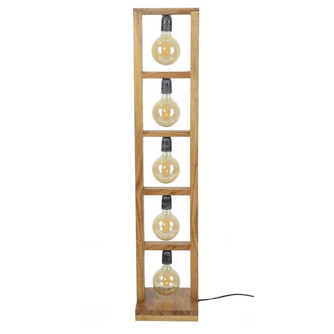 Vloerlamp 5L modulo houten frame / Massief acacia naturel
