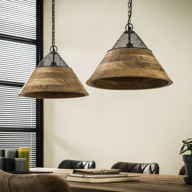 Hanglamp 2xØ40 houten kap / Massief mango naturel