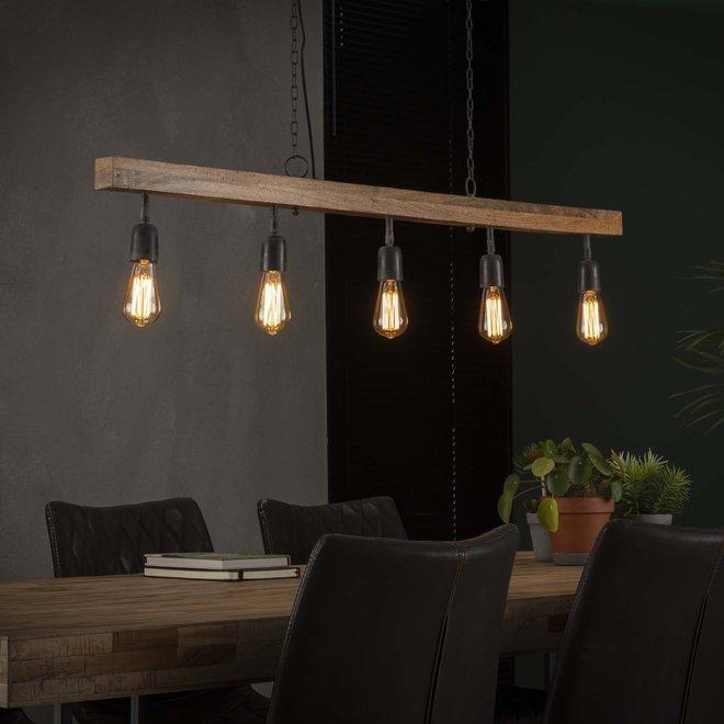 Hanglamp Houten Balk - 5 Lampen