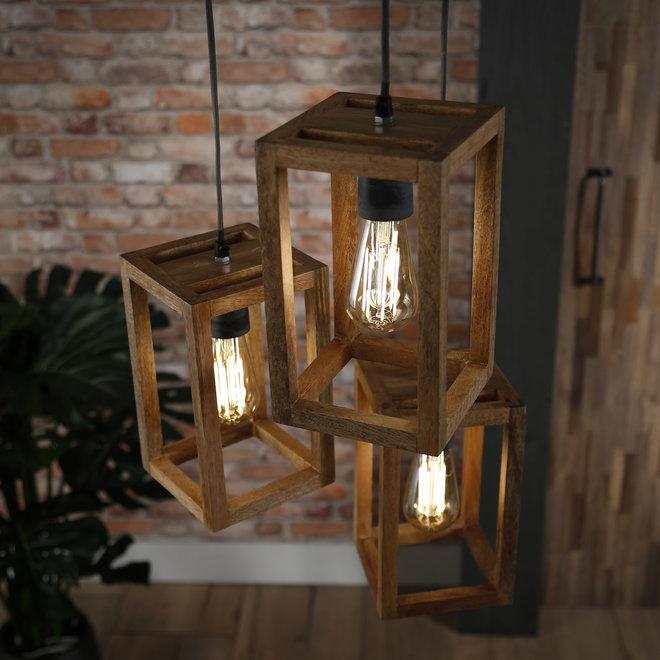 Hanglamp 3x houten frame getrapt / Massief mango naturel
