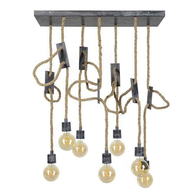 Hanglamp 7L touw 3+4 / Grijs
