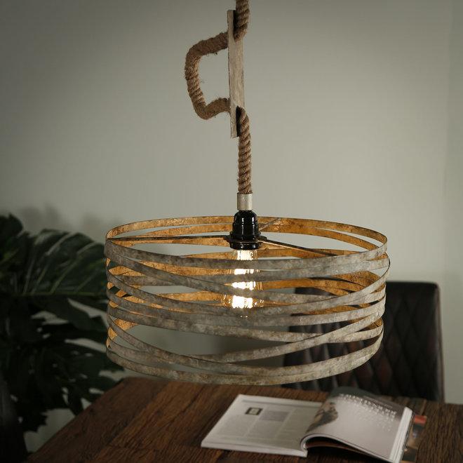Hanglamp Ø40 twist touw / Verweerd zink