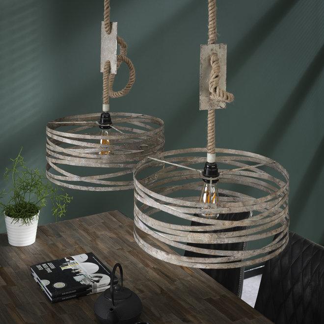 Hanglamp 2xØ40 twist touw / Verweerd zink